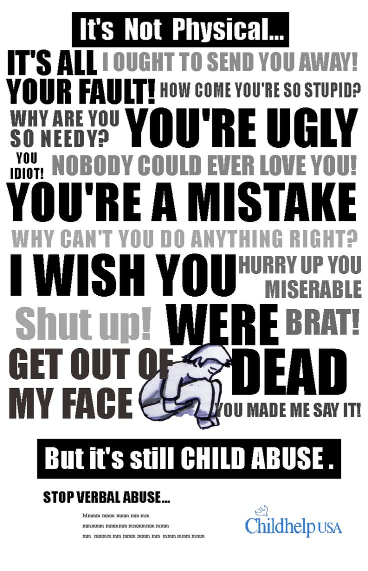 verbal abuse... ideas for negative examples to develop more positive statements towards children