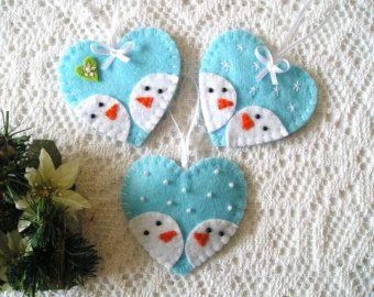 Ornements de Noël feutre jeu de bonhomme de neige de par feltgofen