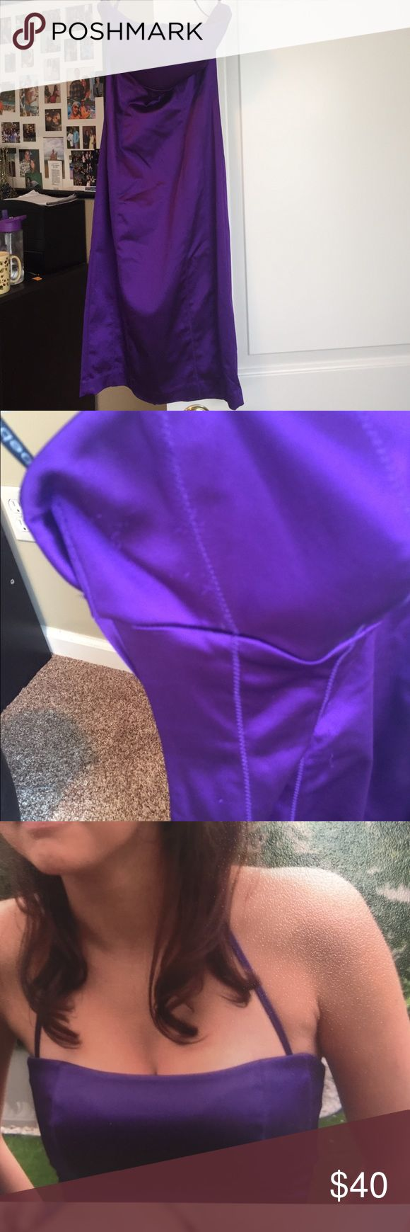 Purple Bodycon Dress Thick satiny material. Convertible from halter to strapless. Worn once for a homecoming, but had a few small snags when you look up close. Just below the knee bebe Dresses Midi