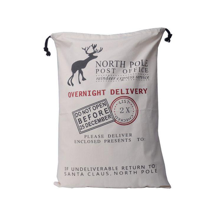 2016 Gift Bag Christmas Drawstring Canvas Santa Sack Deer Print Pouch Rustic Vintage Xmas Stocking Bags Decor E2S