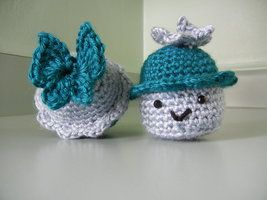 Cupcakes with Butterflies on Top!  I got the pattern for the Butterflies online at the free patterns site. Amigurumi crochet handmade from an Ana Paula Rimoli pattern.