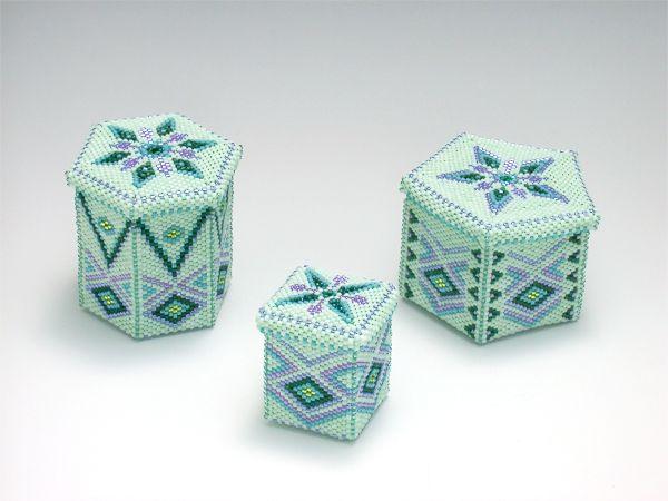 Mint Green boxes by Chika Terai (SweetPeaBeadwork)