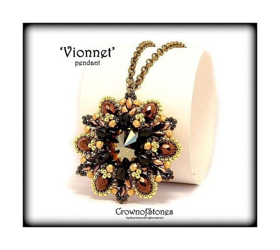 Bead pattern PDF  pendant pattern 'Vionnet' with by CrownofStones, €5.50