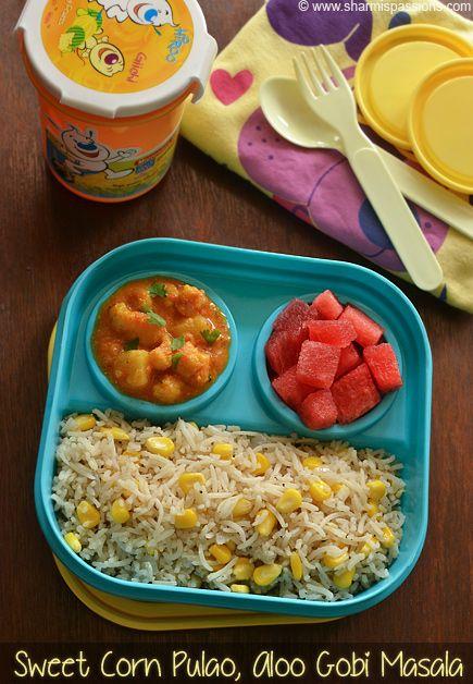 Kids Lunch Box Recipes Idea 13 - Sweet Corn Pulao & Aloo Gobi Masala