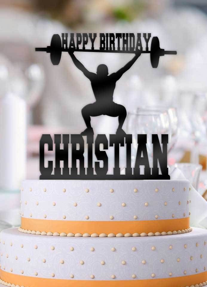 Personalised Name Acrylic Cake Topper weight lift gym Theme birthday