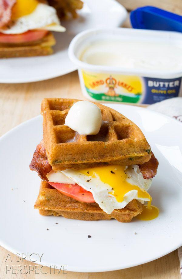 Easy Waffle Sandwich made with Crispy Cornmeal Waffles, Bacon, Eggs ...