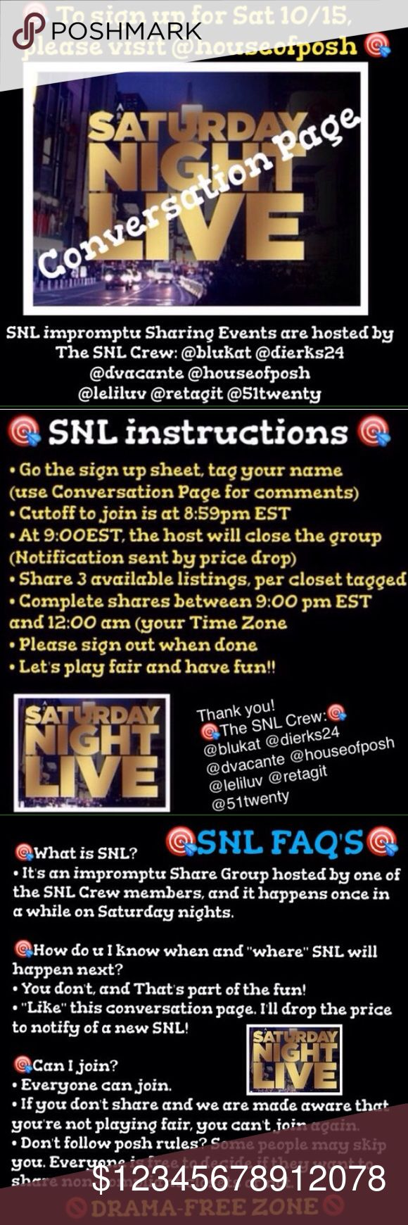 SNL TONIGHT IN @houseofposh SIGN UP @ Top Please like to be notified on the the next SNL. Accessories