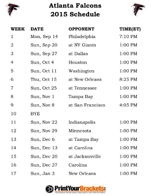 Printable Atlanta Falcons Schedule - 2015 Football Season
