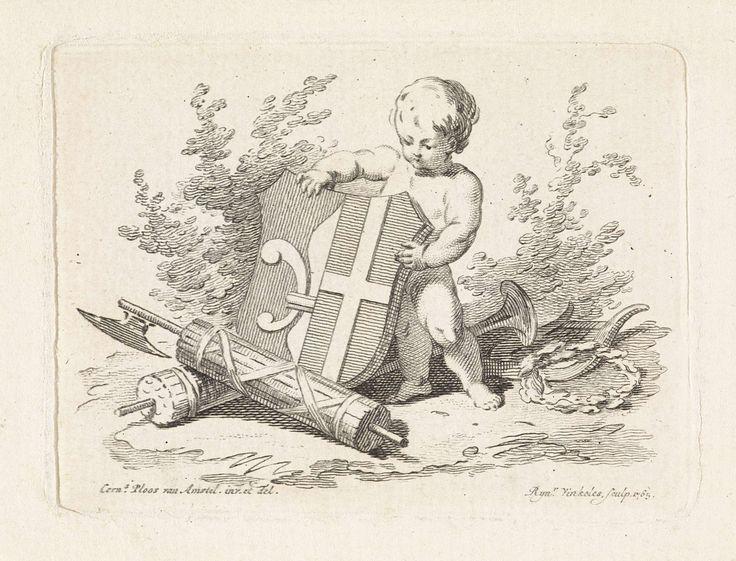 Reinier Vinkeles | Vignet met een putto die het familiewapen van Witsen vasthoudt, Reinier Vinkeles, 1765 |