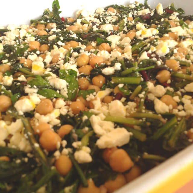 Bulgur wheat with sauteed dandelion greens and chard, chickpeas and ...
