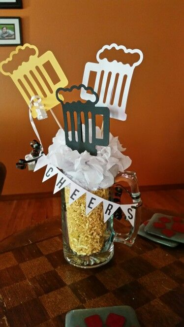 Beer themed retirement party decorations #papercraft #beercenterpiece #silhouette
