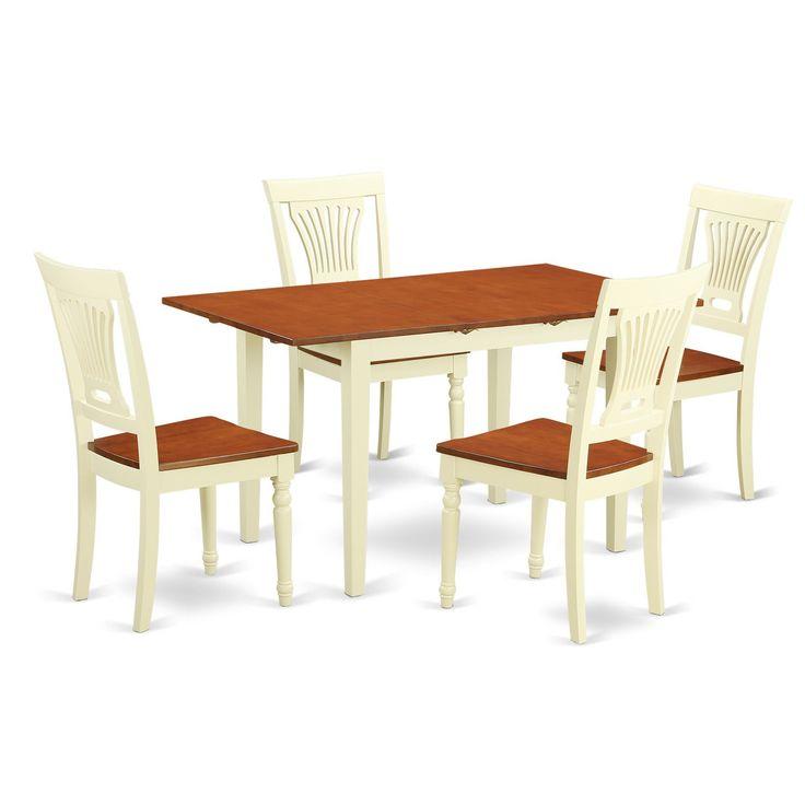 NOPL5 WHI W 5 Piece Kitchen Dinette Set (Buttermilk U0026 Cherry)