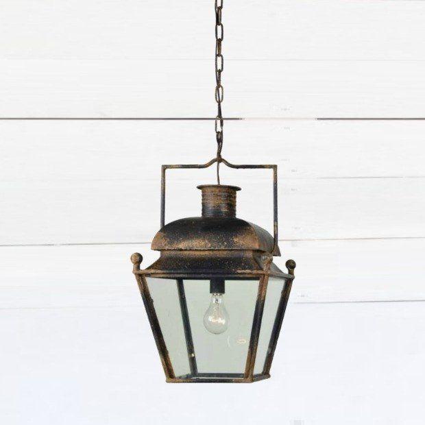 Antiqued Lantern Style Pendant Light Farmhouse Ceiling Light