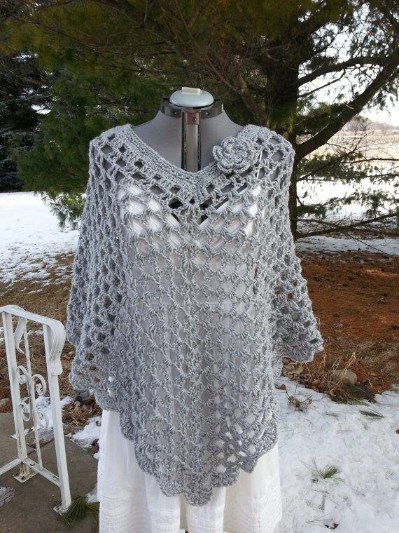 Plus Size Crochet Poncho Cover Up Shawl Wrap with door more2adore