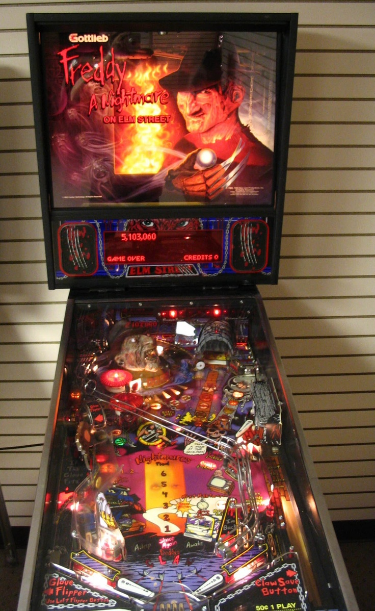 "Gottlieb's ""Freddy: A Nightmare on Elm Street"".   Mr. Gottlieb died a few days ago in Florida - a true pioneer in the gaming industry.  May he rest in peace."