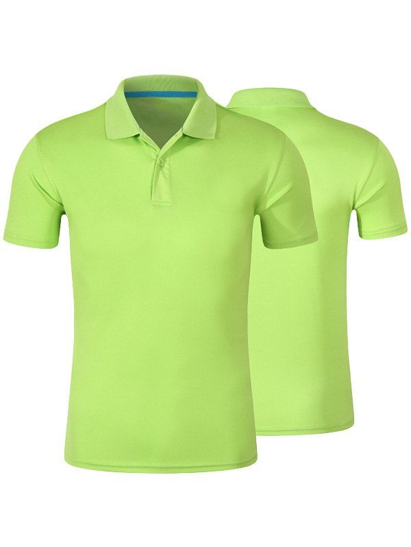 $8.26--Short Sleeve  Plain Polo Shirt In Apple Green,3xl