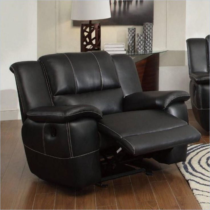 Coaster Lee Transitional Glider Recliner Chair in  Black Bonded Leather - 601063 - Lowest price online on all Coaster Lee Transitional Glider Recliner Chair in  Black Bonded Leather - 601063  $455 Cymax