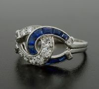 Edwardian Diamond & Sapphire Platinum Double Horseshoe Ring -