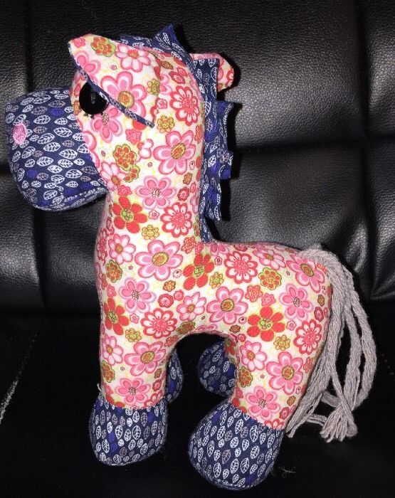 "Small 8"" Pink Flower Power Calico Patchwork Fabric Pony Horse Stuffed Animal 8""  