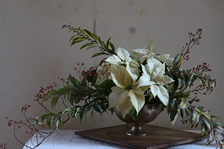 Poinsettia bouquet with rose hips, finished arrangement 2, by Justine Hand for Gardenista