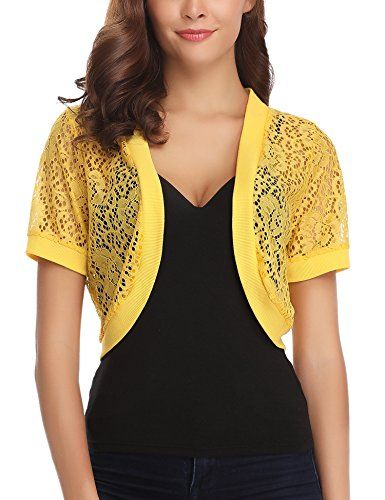 82697235a1 Abollria Womens Shrugs Summer Floral Lace Short Sleeve Open Front Bolero  Cardigan  mirarenzi