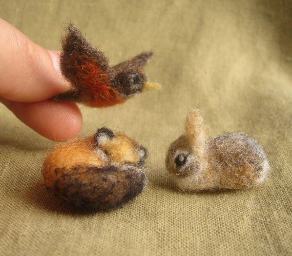 miniature needle felted animals
