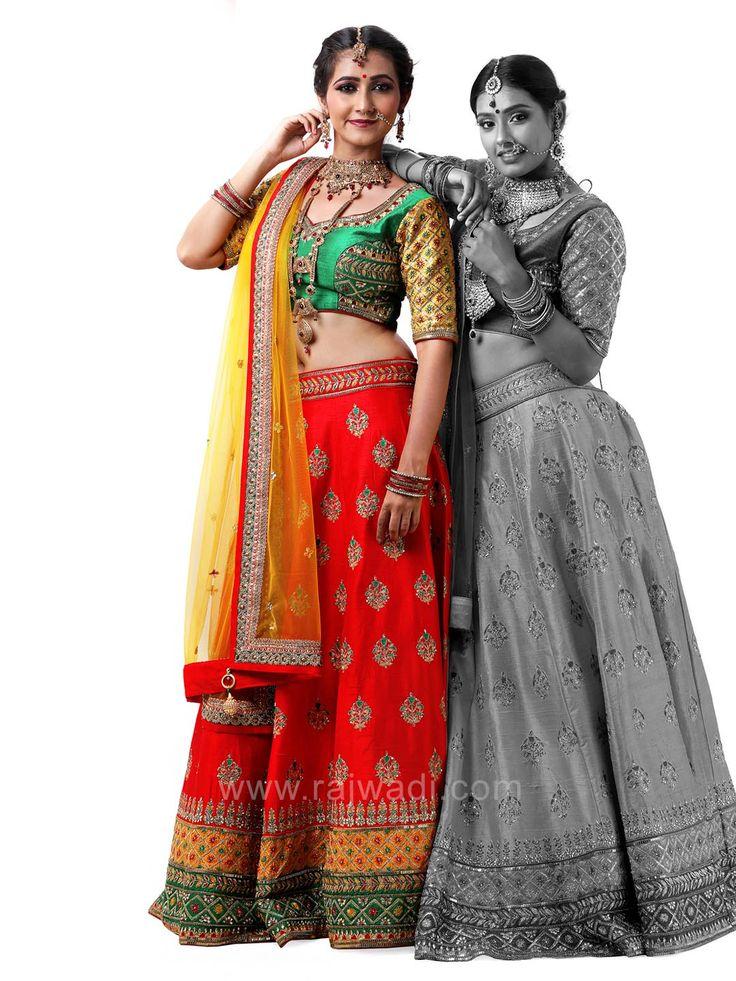 Raw Silk Choli Suit with Net Dupatta #rajwadi #cholisuit #readycholi #lehengas #embroidered #FeelRoyal #bridal #colorful
