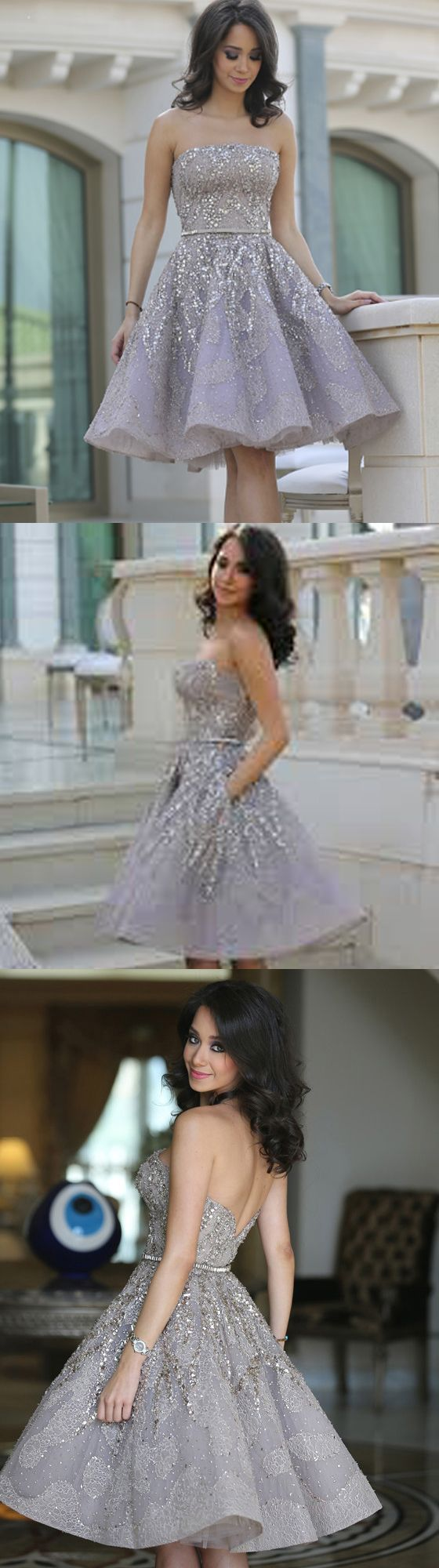 Homecoming Dresses,Silver Grey Homecoming Dresses,Beading Homecoming Gowns,Cute Party
