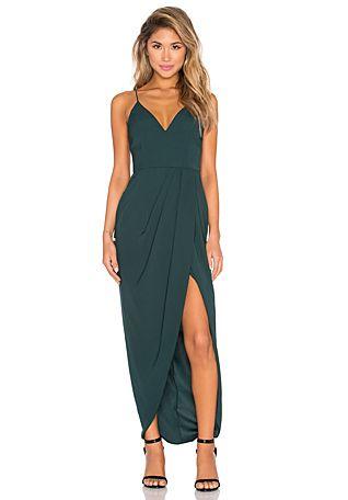 Shona Joy Stellar Drape Maxi Dress in Seaweed   REVOLVE