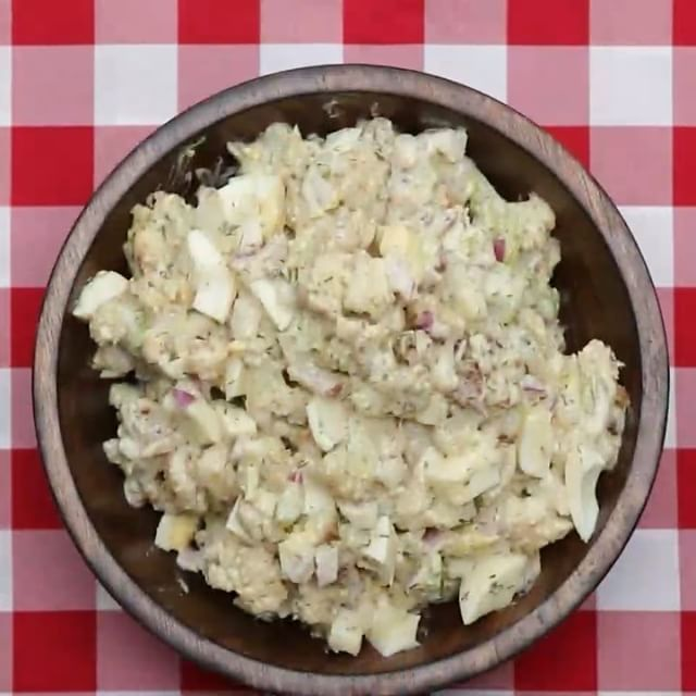 Cauliflower Potato Salad  INGREDIENTS 1 head cauliflower Salt and pepper to taste 2 tablespoons olive oil Dressing ½ cup Greek yogurt 1 tablespoon dijon mustard 1 tablespoon honey 2 tablespoons dill, chopped 1 tablespoon olive oil 1 garlic clove, crushed Juice of ½ lemon ½ red onion, diced 3 stalks celery, diced 3 hardboiled eggs, chopped  PREPARATION 1. Preheat oven to 400˚F/200˚C. 2. Slice cauliflower into small florets. 3. Place cauliflower onto baking sheet and season with salt, pepper…