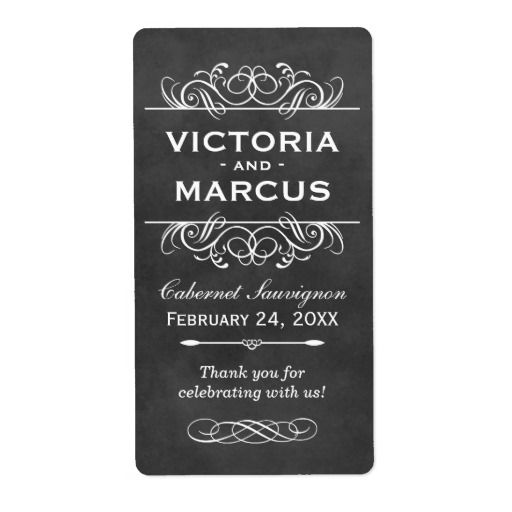 If you're planning a chalkboard theme wedding, you're going to love these Chalkboard Wedding Mini Wine Bottle Favor Labels!  Your names stand out loud and clear in pure white set against the blackboard background.  A flourish sets them apart.  Easily personalize them to create outstanding wedding favors that your guests will treasure.