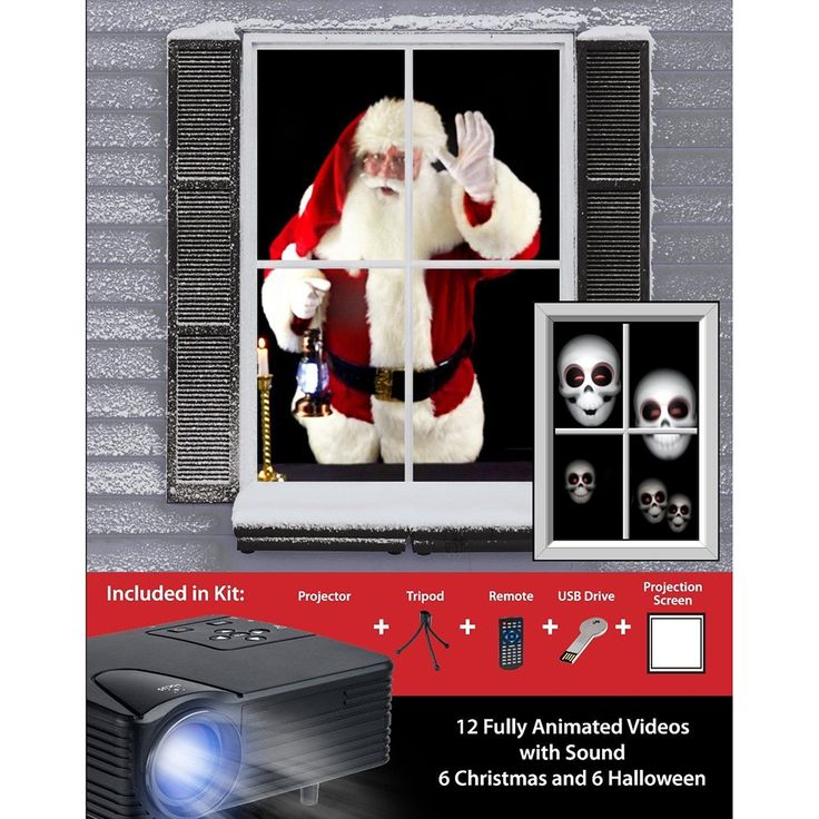 Mr Christmas Digital Decoration Window Projector Kit for Halloween & Christmas includes USB stick with videos, and 40' x 60' High Resolution Fabric Screen, Tripod and projector.