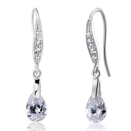 Beautiful 925 Sterling Silver Earrings have been finished with high quality created diamonds. Thesre earrings are the perfect addition for any formal dress, bridal party or social event. They are simply stunning. | eBay!