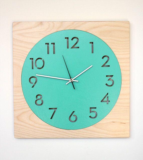 modern wood wall clock aqua or red