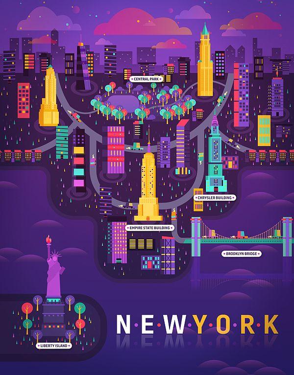 New York illustration - Cosmópolis / Revista Aire by Aldo Crusher