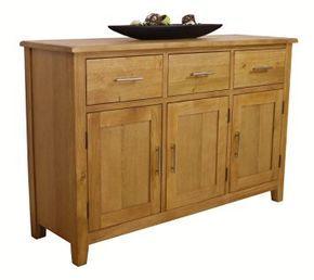Nebraska Oak - Large Sideboard / 3 Door 3 Drawer Storage Dresser Cupboard…