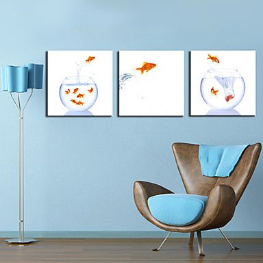 Stretched Canvas Print Art Animal Jumping Fish Set of 3 – AUD $ 85.79