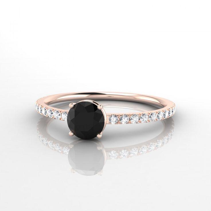 ❤️Aliénor Bague Diamant noir en Or rose 18k❤️