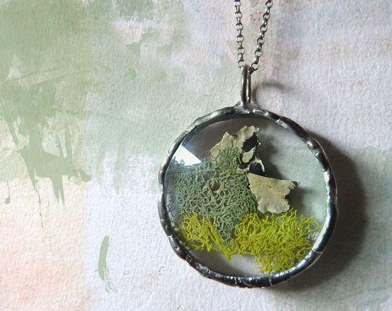 Green Moss Lichen Pendant Necklace Sterling by RenataandJonathan
