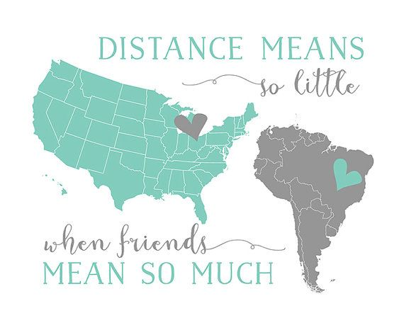 Best Friend Present, Long Distance BFF Quotes, Foreign Exchange, Pen Pal Gift - North, South America, Brazil, US Map, Gift for Friends