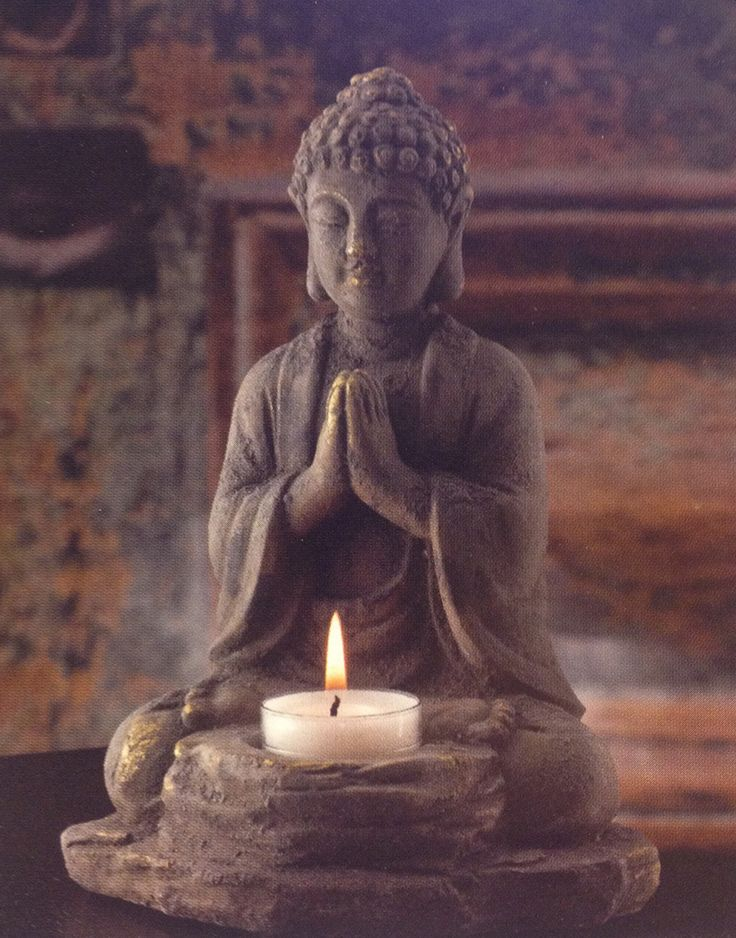Stone Buddha candle holder for peaceful surroundings. Buddha statues and gifts at Buddha Groove.
