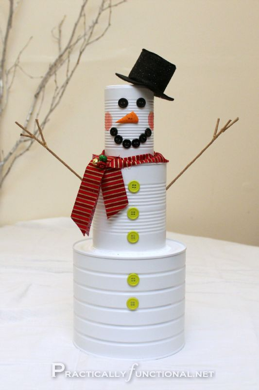 Cute can snowman. Easy and fun craft for kids.