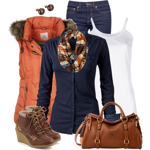 "Orange vest, blue long sleeve or cable sweater | ""Orange Vest"" by daiscat on Polyvore"