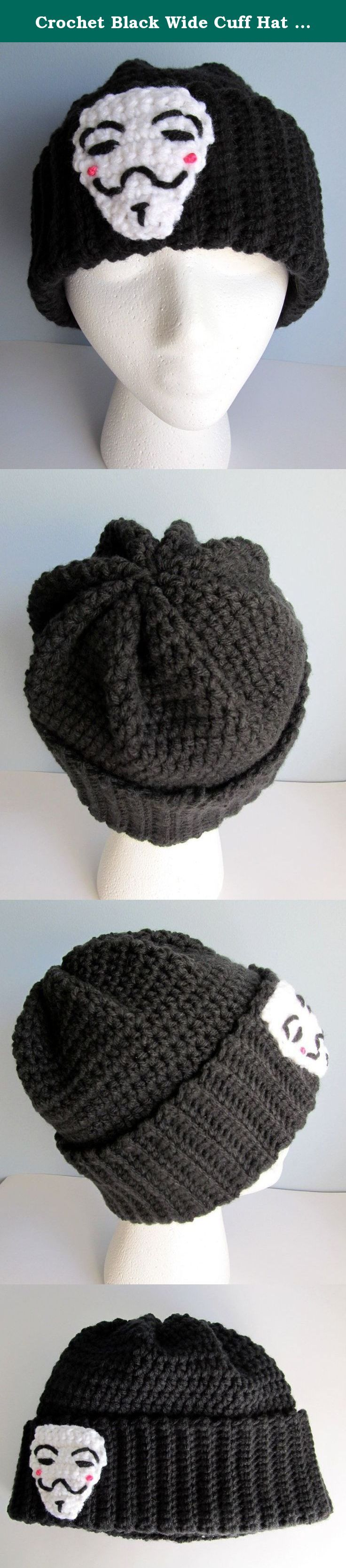 """Crochet Black Wide Cuff Hat / V for Vendetta Slouch Beanie / Knit Black Embellished Anonymous Hat/ Remember the 5th of November / Guy Fawkes Knit Cap. Remember, remember the 5th of November V for Vendetta inspired Crochet black beanie hat is stitched using super warm 4 ply 100% acrylic yarn. Extra wide cuff is 3"""" and crocheted in a rib stitch to create a snug fit to the forehead. The 8 point star top gives the hat a unique look and feel. Folded cuff provides extra warmth from winters…"""