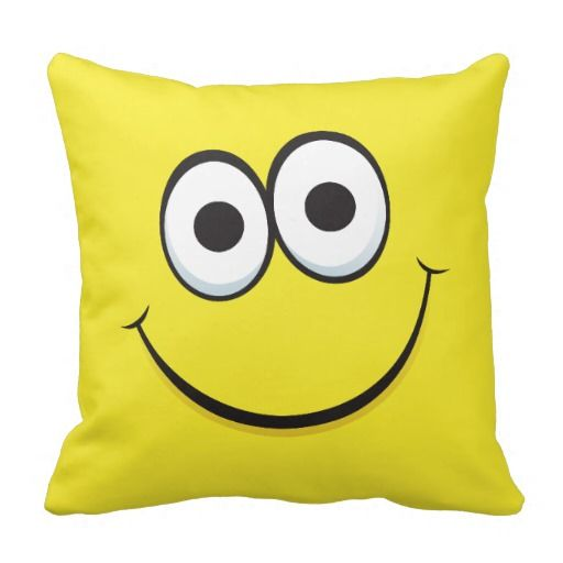 Yellow happy cartoon smiley face funny pillow