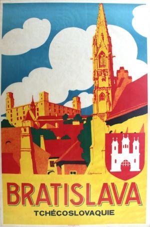 Bratislava Czechoslovakia Art Deco, 1930s - original vintage poster by J. Ladvenica listed on AntikBar.co.uk