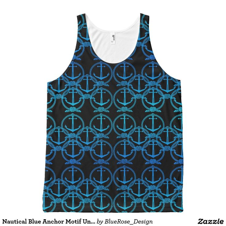 Nautical Blue Anchor Motif Unisex Tank Top All-Over Print Tank Top