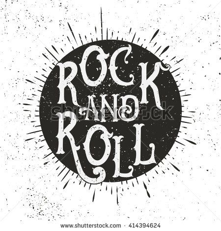 Monochrome Rock music print, hipster vintage label, graphic design with grunge effect, tee print stamp. t-shirt lettering artwork - stock vector