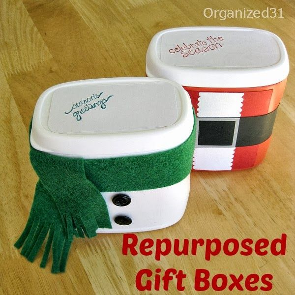 Repurposed Plastic Container Snowman Gift Box - Organized 31- Made from French's Fried Onion Containers