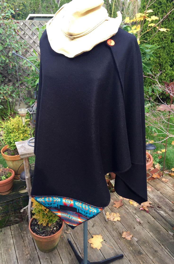 Ink Black Poncho/Women's Black Wrap made with Pendleton Wool/Boho Style by WalkingWomyn on Etsy https://www.etsy.com/listing/493300977/ink-black-ponchowomens-black-wrap-made